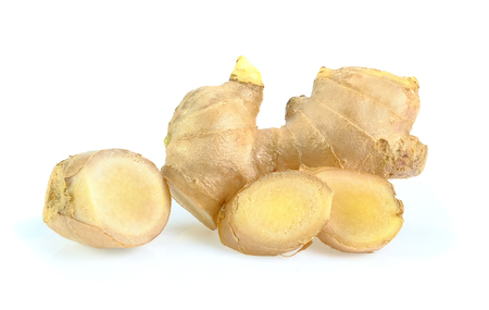 Fresh ginger on white background, herb medical concept