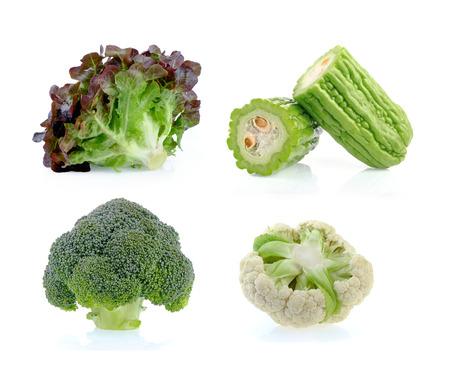 Cauliflower, Broccoli, Bitter melon, Lettuce on white background Archivio Fotografico