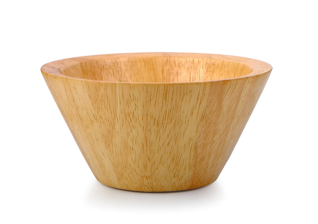 wood bowl on white background Archivio Fotografico