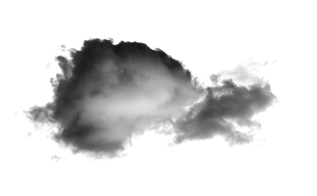 black cloud with a blanket of smoke on white