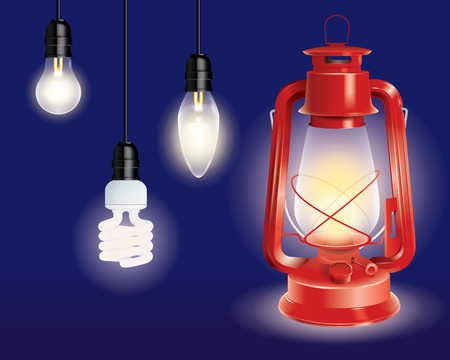 various types of lamps and a red lantern illustration Ilustracja