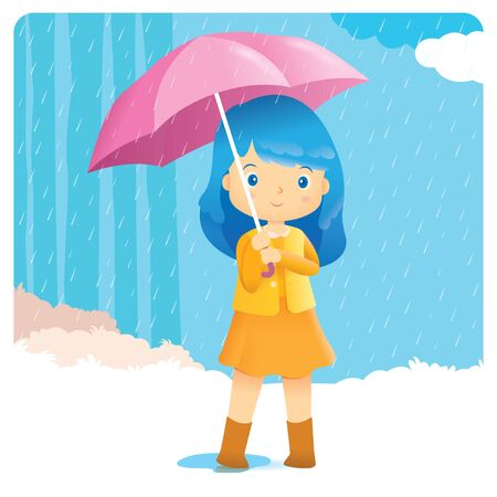 a cute girl standing in the rain with umbrella