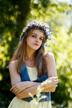 healthy llifestyle: young blond female at summer nature