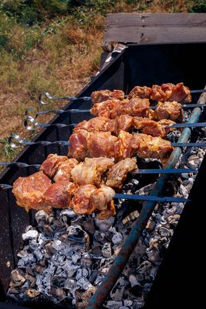 bar b que: pork kebabs grilling
