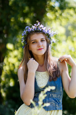 healthy llifestyle: young beautiful woman blond at summer