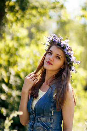 healthy llifestyle: young beautiful woman blond at nature Stock Photo