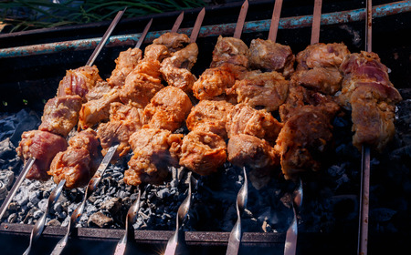 pork kebabs grilling