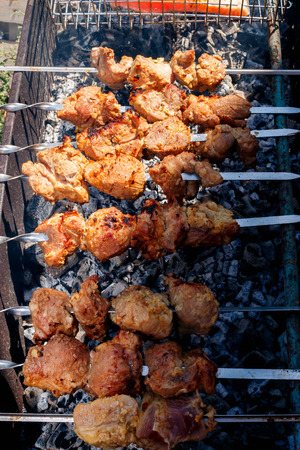 bar b que: kebabs grilling at nature
