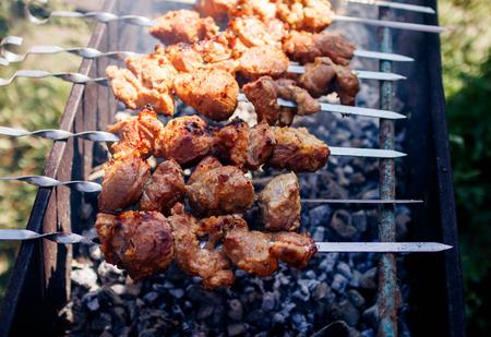 kebabs grilling at nature