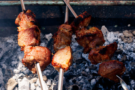 bar b que: kebabs grilling, ready Stock Photo