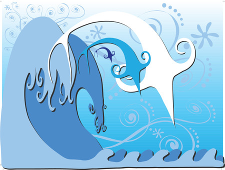 Three fish are gracefully jumping in big waves. Created in blue tones. Stock Vector - 1200573