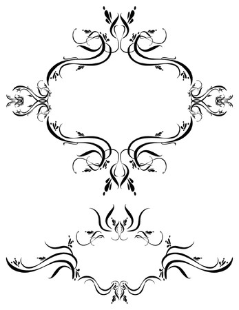 decorate element: Unique graphics useful as decorations, ornaments and separators. Black designs on a white background. Illustration