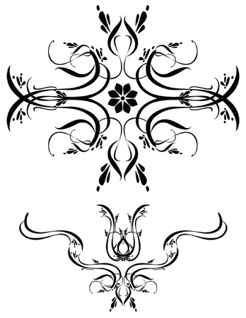 Unique graphics useful as decorations, ornaments and separators. Black designs on a white background. Vettoriali