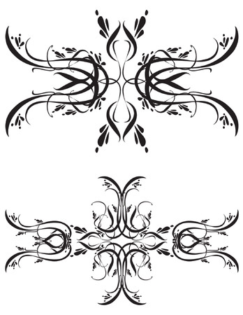 Unique graphics useful as decorations, ornaments and separators. Black designs on a white background. 向量圖像