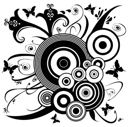 utworzonych: Butterfly Flower Design Ornament art. Motyle trzepotliwy wokół kwiatów i liści. Utworzono w kolorze czarnym na białym tle.
