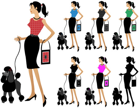 fancy dress: Different colored versions of woman with handbag walking dog. Red, blue, black,  green, pink, silhouette. Very detailed.