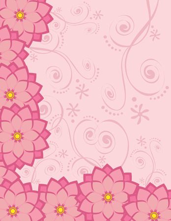 custom letters: Background with pink flowers, suitable for cards, flyers, letterheads, scrapbook, stationary. Illustration