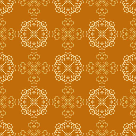 created: Unique detailed seamless wallpaper tile. Created in rich golden tones.