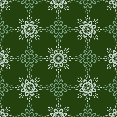 utworzonych: Unikalne szczegółowe bezszwowych tapetę płytek. Utworzono w bogatych zielone dźwięków. Ilustracja