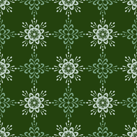 tiled: Unique detailed seamless wallpaper tile. Created in rich green tones. Illustration
