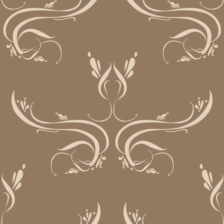 Seamless wallpaper tile background unique detail. Created in beautiful earth tone colors. Vector
