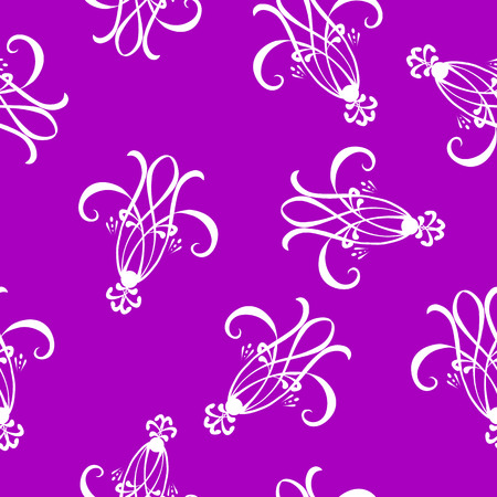 Seamless wallpaper tile background unique detail. White design on rich purple background. Vector