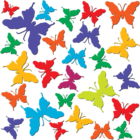 Seamless wallpaper tile background colorful. Multi color butterflies on white  background. Stock Vector - 1479200