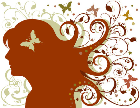 Grunge woman with long flowing hair, foliage, butterflies, stars. Created in earth tone colors. Vector