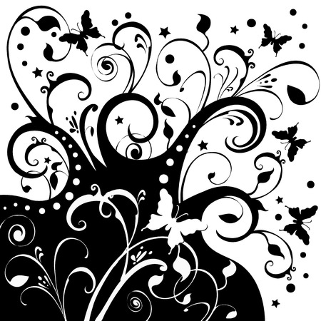 Butterflies fluttering around flowers, foliage, stars. Black on a white background.