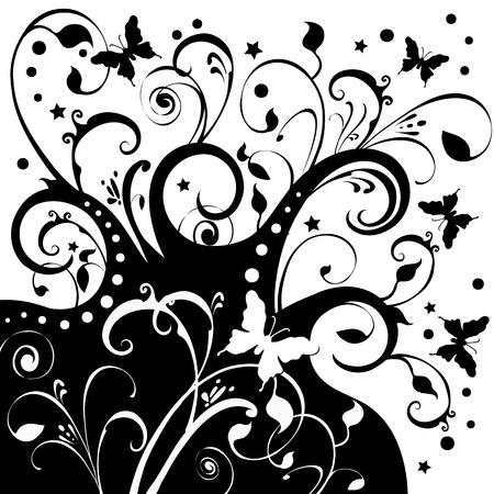 monarch: Butterflies fluttering around flowers, foliage, stars. Black on a white background.
