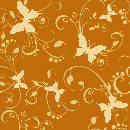Butterflies floral seamless wallpaper tile. Created in rich golden tones. Vector