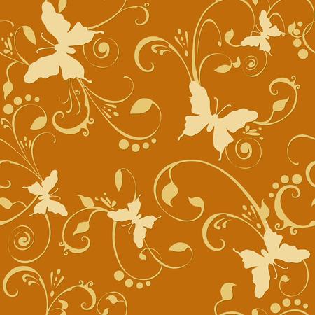 Butterflies floral seamless wallpaper tile. Created in rich golden tones. Stock Vector - 1526887
