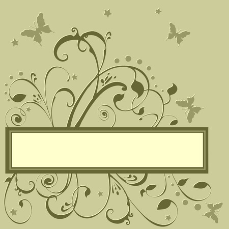 Butterflies fluttering around flowers, foliage, stars. Created in earth tones colors. Add your own text if desired.  Vector