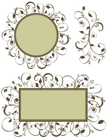 lacey: Foliage graphics useful as ornaments and decoration. This design was created in earth tone greens. Add your own text if desired.  Illustration