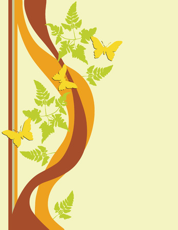 Butterflies fluttering around fern foliage. Created in warm earth tones. Add your own text if desired. Suitable for cards, flyers, letterheads, scrapbook, stationary. Vector