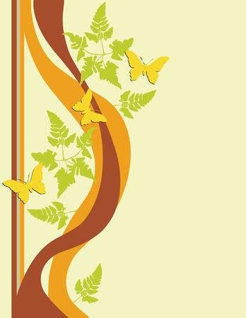 desired: Mariposas que agitan alrededor de follaje del fern. Creado en tonos calientes de la tierra. Agregue su propio texto si est� deseado. Conveniente para las tarjetas, aviadores, papeles con membrete, libro de recuerdos, inm�vil.