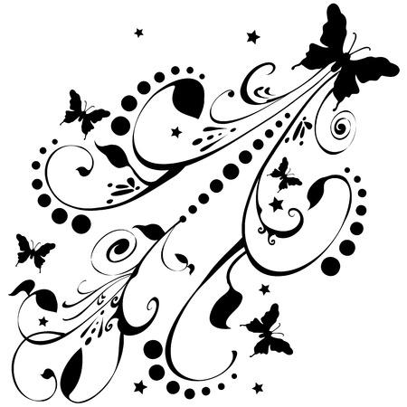 花、葉、星の周り舞う蝶。白地に黒。
