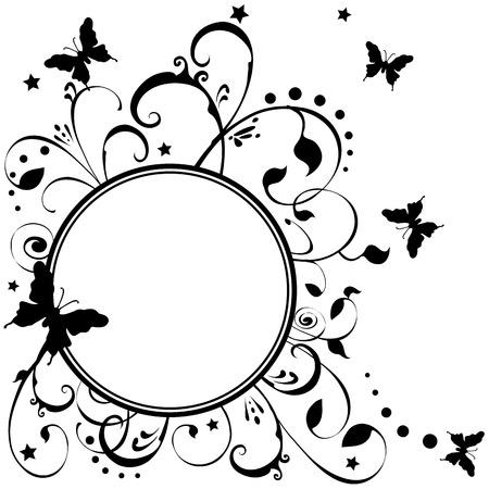 花、葉、星の周り舞う蝶。白地に黒。必要に応じて、独自のテキストを追加します。