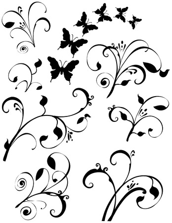 Several different leaf floral design elements. Also Butterflies fluttering around. Black on a white background.