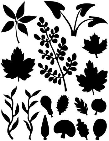 Several different leaf design elements. Black on a white background.