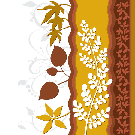 Leaf floral design. Created in rich earth tones.