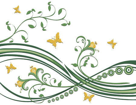 fluttering: Butterflies fluttering around flowers, foliage, circles. Greens and yellow on a white background. Illustration