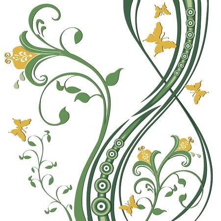 libbenő: Butterflies fluttering around flowers, foliage, circles. Greens and yellow on a white background. Illusztráció
