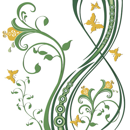 Butterflies fluttering around flowers, foliage, circles. Greens and yellow on a white background. Vector