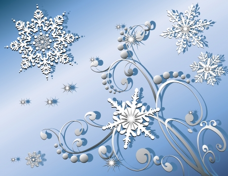 Very detailed snowflakes with sparkles, nice swirling pattern, created in blues, grey and white.