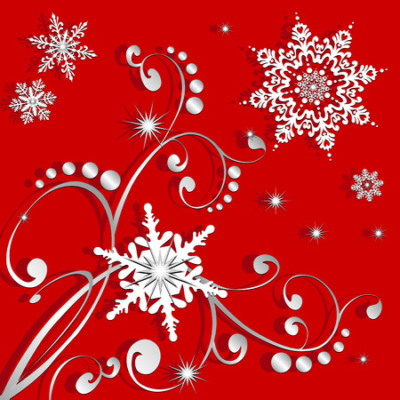 Very detailed snowflakes with sparkles, nice swirling pattern, created in red, grey and white. Vector