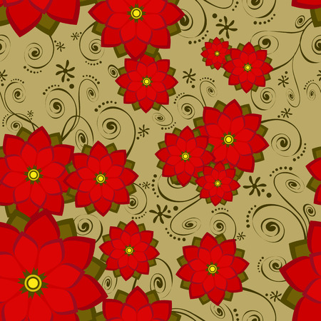 Seamless wallpaper tile floral with swirls. Also use as christmas holiday poinsettias. Created in reds and greens Vector