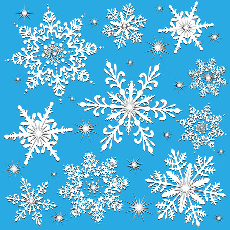 Detailed snowflakes with sparkles, created in white, blue and silver. Can be used as a seamless wallpaper tile. Use as a winter or christmas holiday design.  Vector
