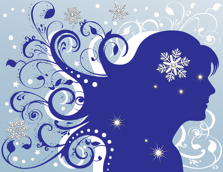 fashion illustration: Grunge woman with flowing hair, sparkling snowflakes, foliage, stars. In blues and white.
