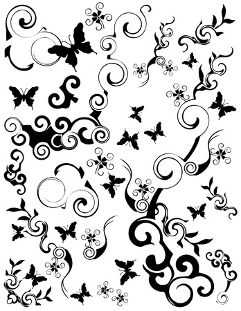 Various swirling foliage butterfly designs. Black on a white background. Иллюстрация